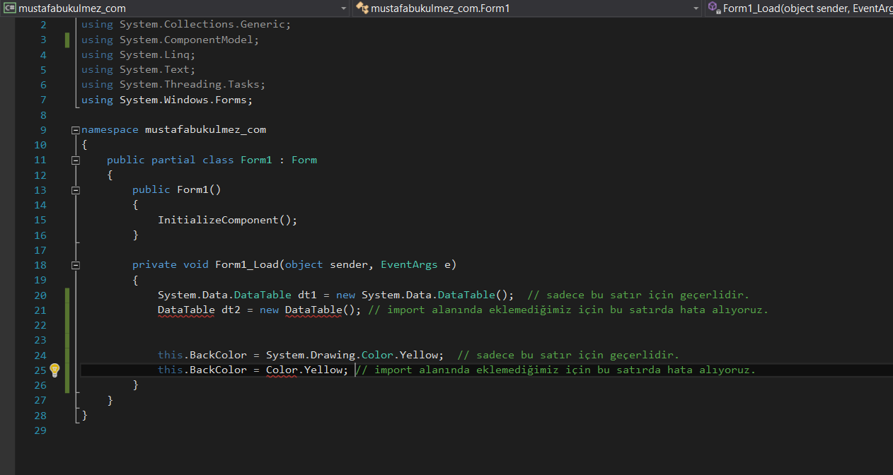 c# namespace using