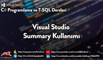 Visual Studio Summary kullanımı