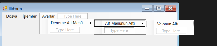 c# menustrip kullanımı 2