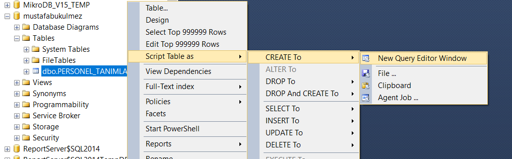 generate create script