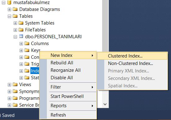 sql index tanımlama
