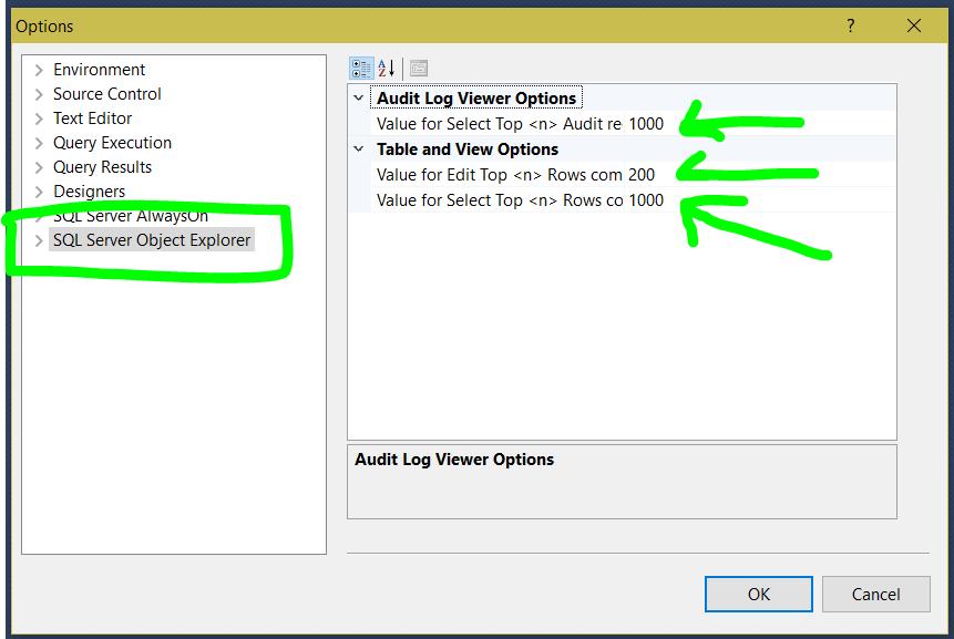 sql management studio select top row change 2