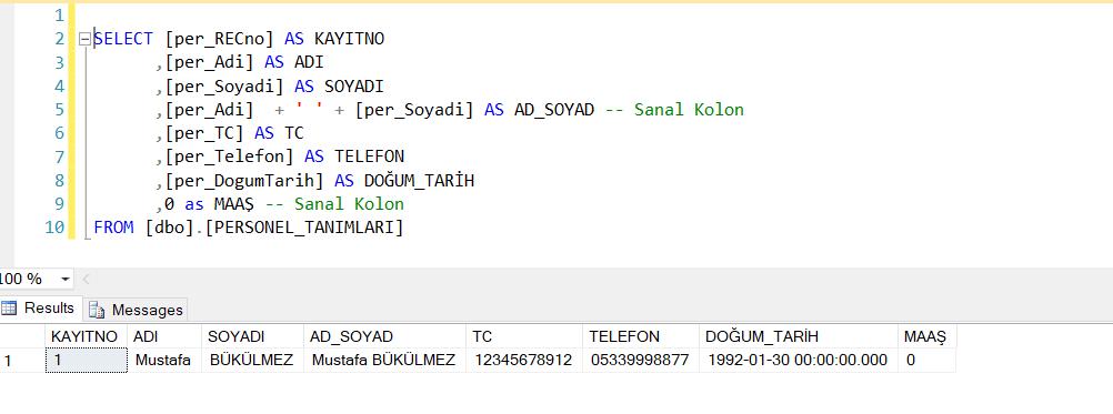 sql select sanal kolon