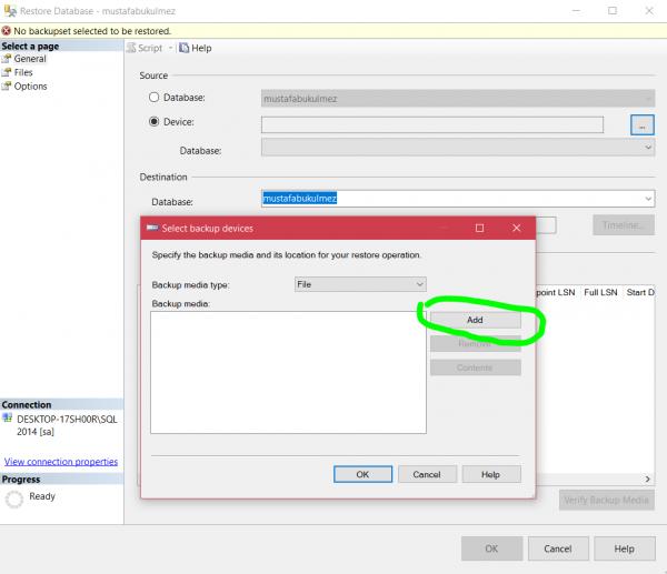 sql server restore database 1
