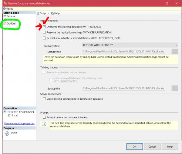 sql server restore database 3