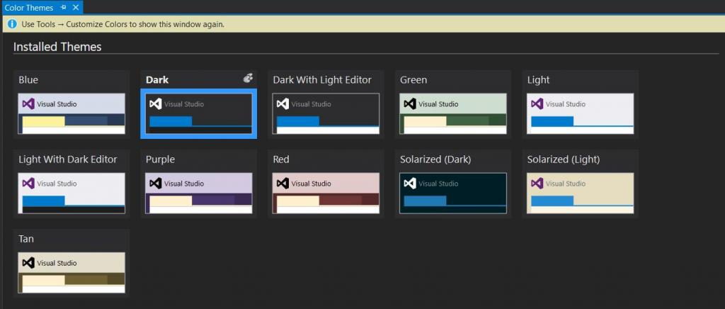 VS 2015 color theme change