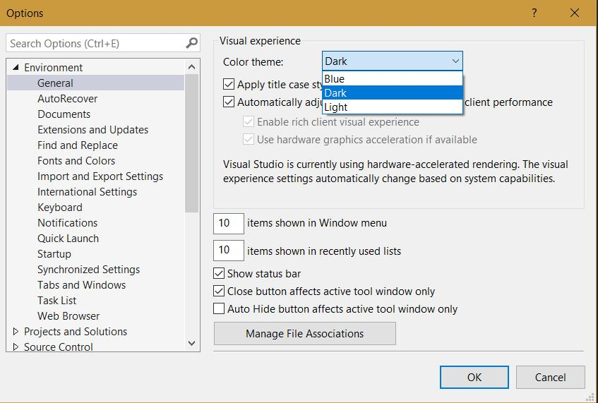VS 2015 color theme