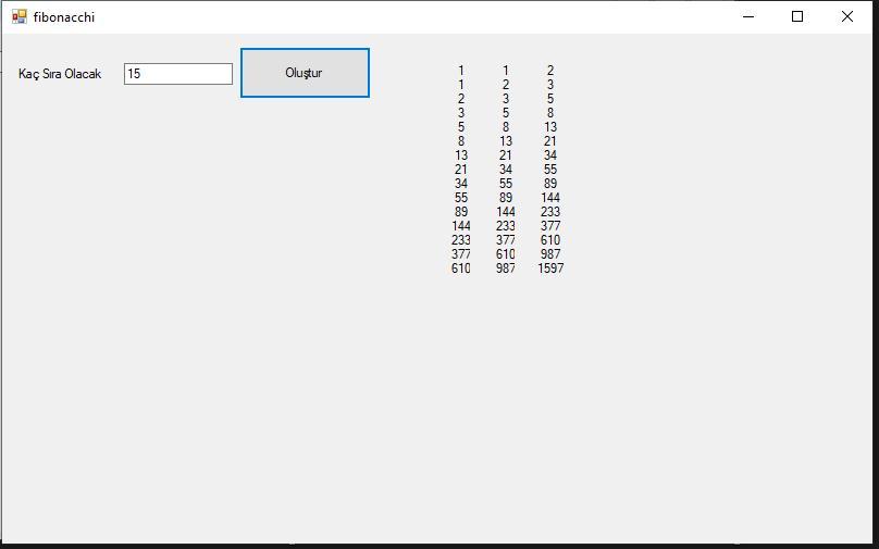 C# Fibonacci Dizisi Yapımı