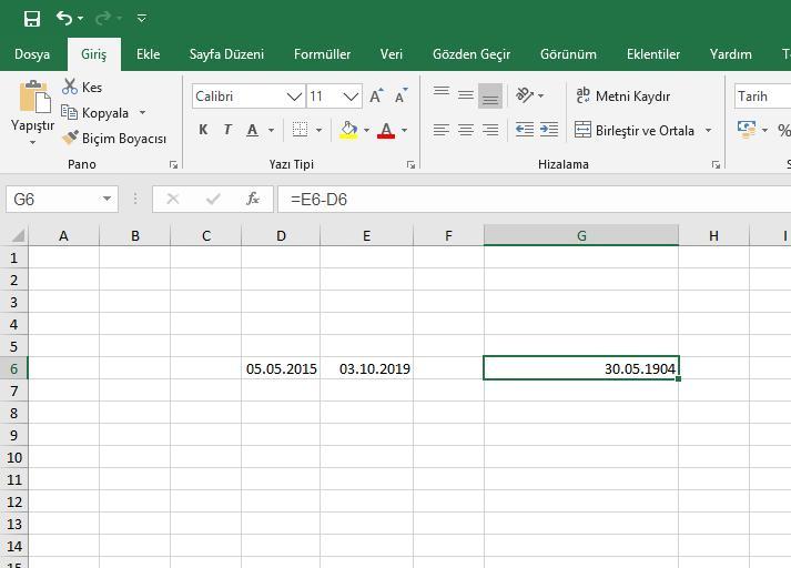Excel - İki Tarih Arası Fark Bulma