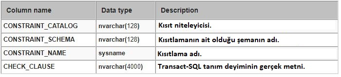 SQL Server INFORMATION_SCHEMA.CHECK_CONSTRAINTS