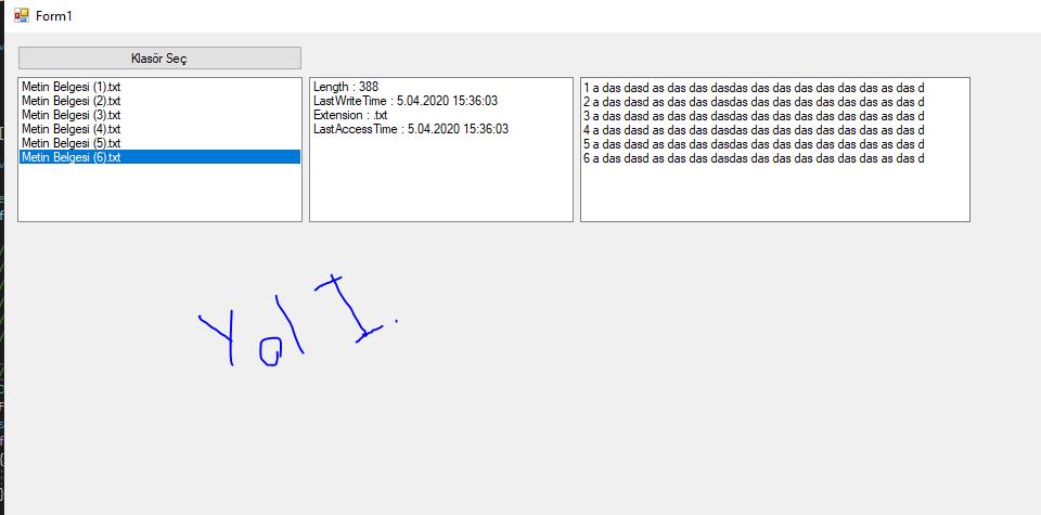 C# Klasördeki Dosya Adlarını Almak