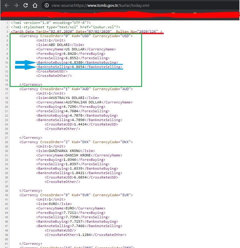 C# İnternetten Döviz Kurlarını Çekmek. 2