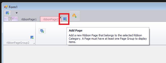 devexpress ribbonmenu add page
