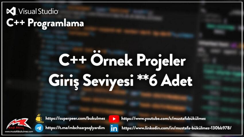 C++ Örnek Projeler - Giriş Seviyesi 6 Adet