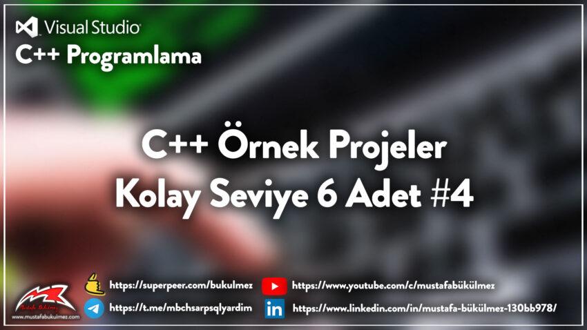 C++ Örnek Projeler – Kolay Seviye 6 Adet #4