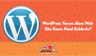 WordPress Yorum Alanı Web Site Kısmı Nasıl Kaldırılır